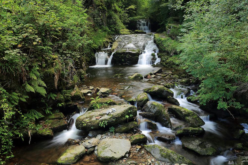 Small waterfall at Watersmeet, near Lynton in North Devon