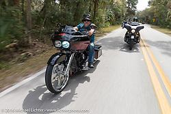Krazy J Kieffer riding through Tomoka State Park during Daytona Bike Week 75th Anniversary event. FL, USA. Thursday March 3, 2016.  Photography ©2016 Michael Lichter.