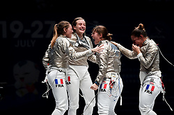WUXI, July 27, 2018  Players of France celebrate after winning the women's sabre team final between France and Russia at the Fencing World Championships in Wuxi, east China's Jiangsu Province, July 27, 2018. France beat Russia 45-35 and claimed the title of the event. (Credit Image: © Li Bo/Xinhua via ZUMA Wire)
