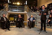 """24 FEB 2005, BERLIN/GERMANY:<br /> Durs Gruenbein, Autor, Christina Weiss, SPD, Staatsministerin fuer Kultur im Bundeskanzleramt, Marcel Reich-Ranicki, Literatur Kritiker, Gerhard Schroeder, SPD, Bundeskanzler, (v.L.n.R.), waehrend einer Veranstaltung """"Es gilt das gesprochene Wort"""", SKylobby, Bundeskanzleramt<br /> IMAGE:20050224-02-006<br /> KEYWORDS: Lesung, Diskussion, Durs Grünbein, Gerhard Schröder, Rede, speech"""