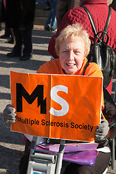 Demonstration against Coalition cuts to disabled people's services and income. Multiple Sclerosis Society