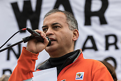 London, UK. 11 January, 2020. Murad Qureshi, Chair of Stop The War Coalition, addresses the No War on Iran demonstration in Trafalgar Square organised by Stop the War Coalition and the Campaign for Nuclear Disarmament to call for deescalation in the Middle East following the assassination by the United States of Iranian General Qassem Soleimani and the subsequent Iranian missile attack on US bases in Iraq.