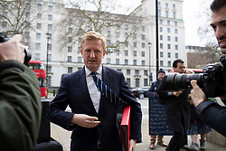 © Licensed to London News Pictures. 02/03/2020. London, UK. Secretary of State for Digital, Culture, Media and Sport <br /> Oliver Dowden CBE arrives at The Cabinet Office. Photo credit: George Cracknell Wright/LNP