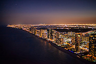 Aerial view of Miami from Sunny Isles Beach to downtown at night