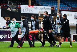 Aimee Palmer of Bristol City Women is stretchered off after an injury- Mandatory by-line: Will Cooper/JMP - 18/10/2020 - FOOTBALL - Twerton Park - Bath, England - Bristol City Women v Birmingham City Women - Barclays FA Women's Super League