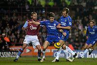 Photo: Glyn Thomas.<br />Aston Villa v Chelsea. Barclays Premiership. 01/02/2006.<br />Arjen Robben (R) muscles Chelsea teammate Joe Cole (C) out of the way to score his side's opening goal.