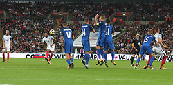 04 September 2017 Wembley : International Football England v Slovakia : Marcus Rashford fires a free kick well wide of the Slovakian wall.<br /> Photo: Mark Leech