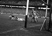 19/08/1962<br /> 08/19/1962<br /> 19 August 1962<br /> All Ireland Football Semi Final: Cavan v Roscommon at Croke Park, Dublin. A close shot, but the ball flashed past the outside of the bar in this fine attempt by J. Brady the Cavan forward.