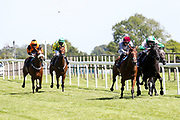 Arju ridden by Luke Morris trained by Robert Cowell, Bear Attraction ridden by Rossa Ryan trained by Roger Teal Hotcity ridden by Kieran O'Neill trained by Steph Hollinshead, Lehwaiyla ridden by David Probert trained by Sir Michael Stoute Populaire ridden by Pat Dobbs trained by Amanda Perrett in the The Sky Sports Racing Skyn415 Median Auction Maiden Fillies' Stakes - Mandatory by-line: Robbie Stephenson/JMP - 22/07/2020 - HORSE RACING - Bath Racecoure - Bath, England - Bath Races