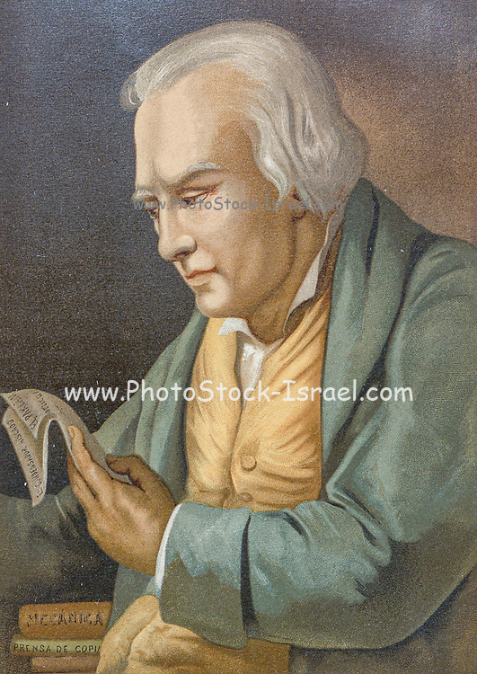 James Watt FRS FRSE [Jaime Watti] (19 January 1736 – 25 August 1819) was a Scottish inventor, mechanical engineer, and chemist who improved on Thomas Newcomen's 1712 Newcomen steam engine with his Watt steam engine in 1776, which was fundamental to the changes brought by the Industrial Revolution in both his native Great Britain and the rest of the world. From the book La ciencia y sus hombres : vidas de los sabios ilustres desde la antigüedad hasta el siglo XIX T. 3  [Science and its men: lives of the illustrious sages from antiquity to the 19th century Vol 3] By by Figuier, Louis, (1819-1894); Casabó y Pagés, Pelegrín, n. 1831 Published in Barcelona by D. Jaime Seix, editor , 1879 (Imprenta de Baseda y Giró)