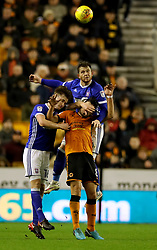 Wolverhampton Wanderers Ruben Neves is squeezed out by Ipswich Town's Callum Connolly and Joe Garner during the Sky Bet Championship match at Molineux, Wolverhampton.
