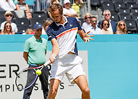 Tennis - 2019 Queen's Club Fever-Tree Championships - Day Six, Saturday<br /> <br /> Men's Singles, Semi Final: Daniil Medvedev (RUS) Vs. Gilles Simon (FRA) <br /> <br /> Daniil Medvedev (RUS) strikes the forehand return on Centre Court.<br />  <br /> COLORSPORT/DANIEL BEARHAM