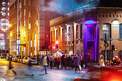 """© Licensed to London News Pictures . 13/12/2019 . Manchester , UK . GV of Montana House (left) and FAC251 nightclub (right) (also known as """" The Factory """") on Princess Street in Manchester City Centre . Sinaga was living in Montana House and committed many of his offences there . Reynhard Sinaga has been convicted of over a hundred serious sexual assaults , including the rape of dozens of young men whom he lured to his flat from outside nightclubs in Manchester City Centre , making him one of the most prolific sex offenders ever to have been tried and convicted . Photo credit : Joel Goodman/LNP"""