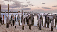 The remains of an old wharf on Provincetown's harborfront.