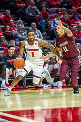 NORMAL, IL - November 10: Dedric Boyd turns the corner baseline defended by Jaizec Lottie during a college basketball game between the ISU Redbirds and the Little Rock Trojans on November 10 2019 at Redbird Arena in Normal, IL. (Photo by Alan Look)