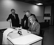 New Singer Computer At U.C.D.    (J85)..1975..29.10.1975..10.29.1975..29th October 1975..A Singer System 10 computer which was installed in the Faculty of Commerce in University College Dublin,(U.C.D.), was offically handed over today. The computer will be used by graduate and post graduate students at the university. The college is at Belfield,Dublin..Pictured at the official hand over of the new computer were, (L-R), Professor M J McCormac, Dean, Faculty of Commerce, Dr Thomas Murphy, President,U.C.D. and Mr Michael McMahon,Regional Director for Ireland,Singer Business machines.