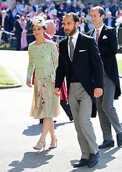 Pippa Middleton and James Middleton arrive at St George's Chapel at Windsor Castle for the wedding of Meghan Markle and Prince Harry.