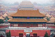 High angle view of the Forbidden City as seen from Jingshan Hill to the north in Beijing, China.