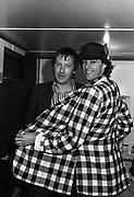Lee Brilleaux and Bob Geldof - backstage caravan Loch Lomond 1979