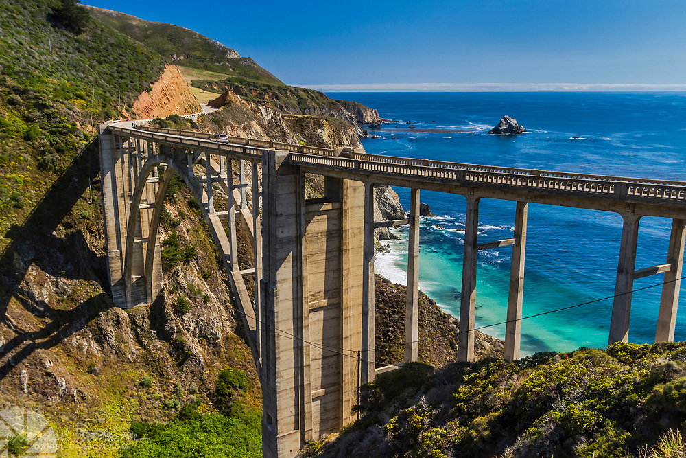 View of Bixby Bridge on a clear blue sky day alongthe Big Sur Coast, Highway 1 in California