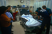 An elderly Apache lady patient receives specialist care from a dedicated air ambulance service for Arizonas Native Americans, on 25th August 1998, at Phoenix Native American reservation Hospital, Arizona, USA.