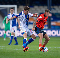 Blackburn Rovers' Joseph Rankin-Costello (left) vies for possession with Luton Town's George Moncur (right) <br /> <br /> Photographer David Horton/CameraSport<br /> <br /> The EFL Sky Bet Championship - Luton Town v Blackburn Rovers - Saturday 21st November 2020 - Kenilworth Road - Luton<br /> <br /> World Copyright © 2020 CameraSport. All rights reserved. 43 Linden Ave. Countesthorpe. Leicester. England. LE8 5PG - Tel: +44 (0) 116 277 4147 - admin@camerasport.com - www.camerasport.com