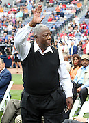 ATLANTA, GA:  ATLANTA, GA:  Hall of Famer Hank Aaron acknowledges the crowd during a pre-game ceremony before the MLB Civil Rights Game between the Philadelphia Phillies and the Atlanta Braves on Sunday, May 15, 2011 at Turner Field in Atlanta, Georgia.  (Photo by Mike Zarrilli/MLB Photos via Getty Images)