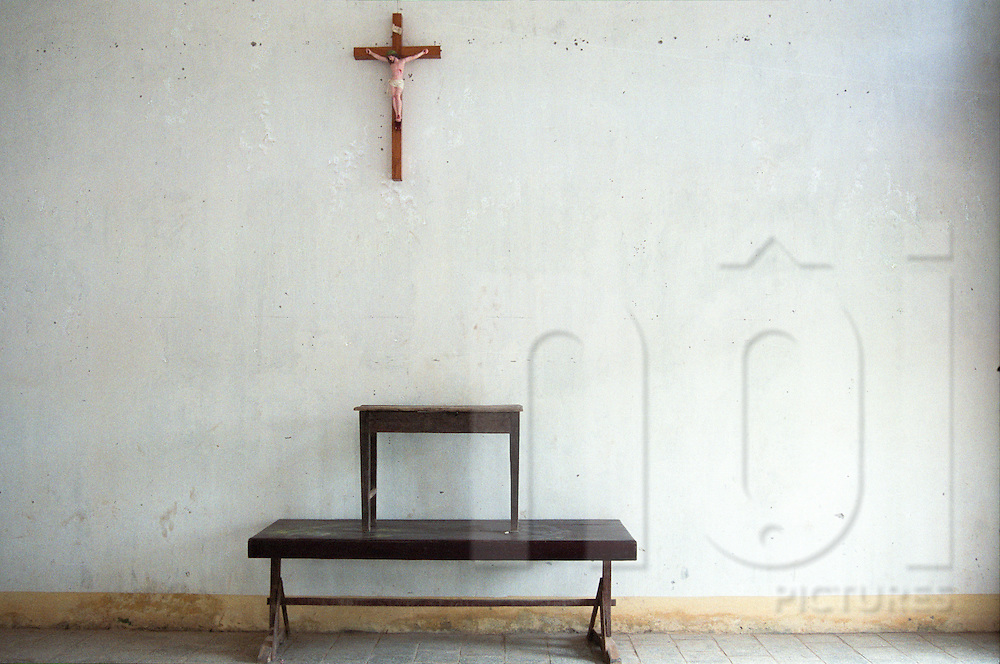 A crucifix is sticked on a wall in a church of Nam Dinh province, Vietnam, Asia