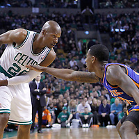 04 March 2012: New York Knicks guard Iman Shumpert (21) defends on Boston Celtics shooting guard Ray Allen (20) during the first half of Boston Celtics vs the New York Knicks at the TD Garden, Boston, Massachusetts, USA.