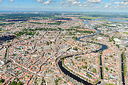 Nederland, Noord-Holland, Haarlem, 01-08-2016; overzicht binnenstad Haarlem met Grote of Sint Bavokerk in het centrum vanuit het zuiden. <br /> Overview Haarlem city.<br /> <br /> luchtfoto (toeslag op standard tarieven);<br /> aerial photo (additional fee required);<br /> copyright foto/photo Siebe Swart