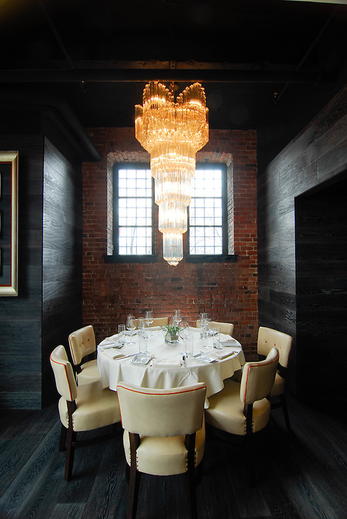 A table set at Liberty Hotel's Scampo Restaurant.