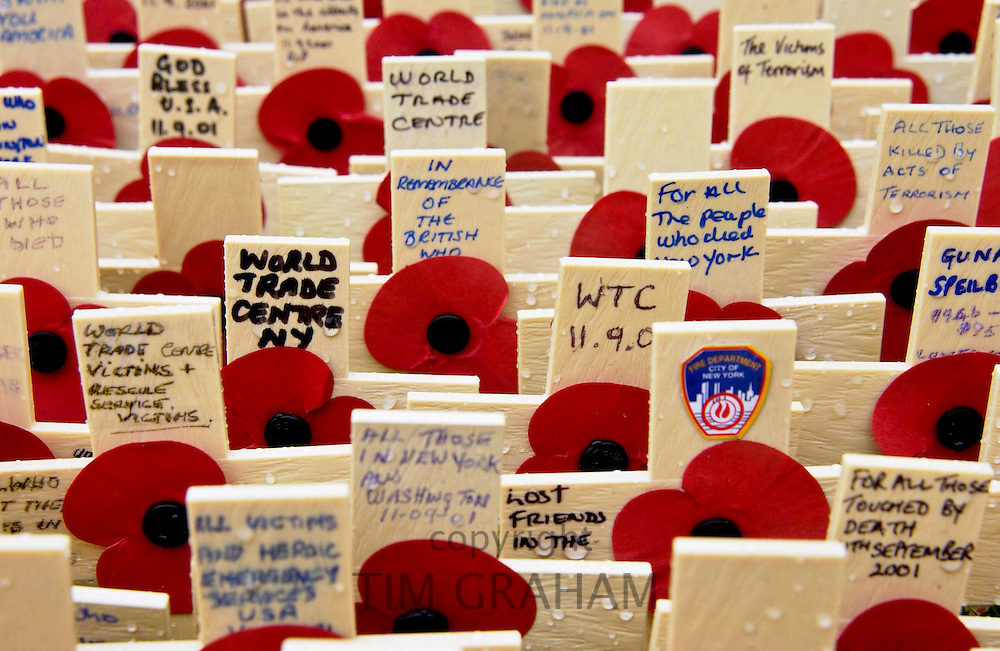 CROSSES IN THE ROYAL BRITISH LEGION FIELD OF REMEMBRANCE AT ST MARGARET'S CHURCH, WESTMINSTER, LONDON INCLUDE MANY FOR THE VICTIMS OF THE WORLD TRADE CENTRE DISASTER.