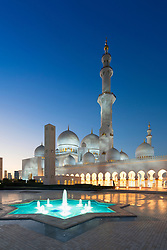 Night view of Sheikh Zayed Grand Mosque in Abu Dhabi United Arab Emirates