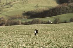 Children walking arm in arm through field,