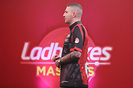 Nathan Aspinall during the PDC Ladrokes Masters 2021 at Marshall Arena, Milton Keynes, United Kingdom on 31 January 2021.