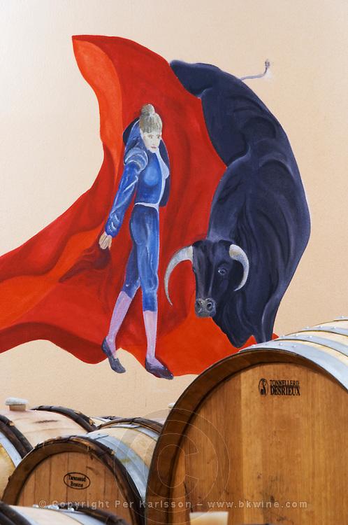 barrel aging cellar bull fight wall painting dom g robin crozes hermitage rhone france