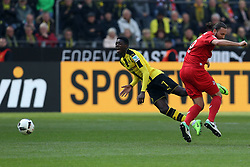 DORTMUND, April 30, 2017  Ousmane Dembele (L) of Borussia Dortmund is tackled by Marco Hoger of 1.FC Cologne during the Bundesliga soccer match between Borussia Dortmund and 1.FC Cologne at the Signal Iduna Park in Dortmund, Germany on April 29, 2017. The match ended in a 0-0 draw. (Credit Image: © Joachim Bywaletz/Xinhua via ZUMA Wire)