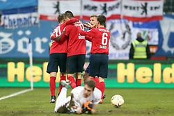 12.12.2015, Merck Stadion am Boellenfalltor, Darmstadt, GER, 1. FBL, SV Darmstadt 98 vs Hertha BSC, 16. Runde, im Bild Torjubel Hertha 0:1;v.l.Mitchell Weiser (20), Hertha BSC Berlinbe, Vedad Ibisevic (19), Hertha BSC Berlin, Vladimir Darida (6), Hertha BSC Berlin // during the German Bundesliga 16th round match between SV Darmstadt 98 and Hertha BSC at the Merck Stadion am Boellenfalltor in Darmstadt, Germany on 2015/12/12. EXPA Pictures © 2015, PhotoCredit: EXPA/ Eibner-Pressefoto/ Roskaritz<br /> <br /> *****ATTENTION - OUT of GER*****