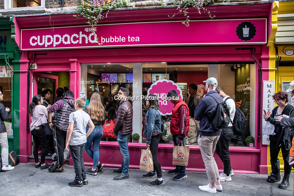 Cuppacha in London Chinatown Sweet Tooth Cafe and Restaurant at Newport Court and Garret Street on 15 June 2019, UK.