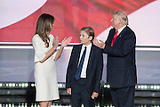 GOP Presidential candidate Donald Trump with his wife Melania and son Barron after accepting the party nomination for president on the final day of the Republican National Convention July 21, 2016 in Cleveland, Ohio.