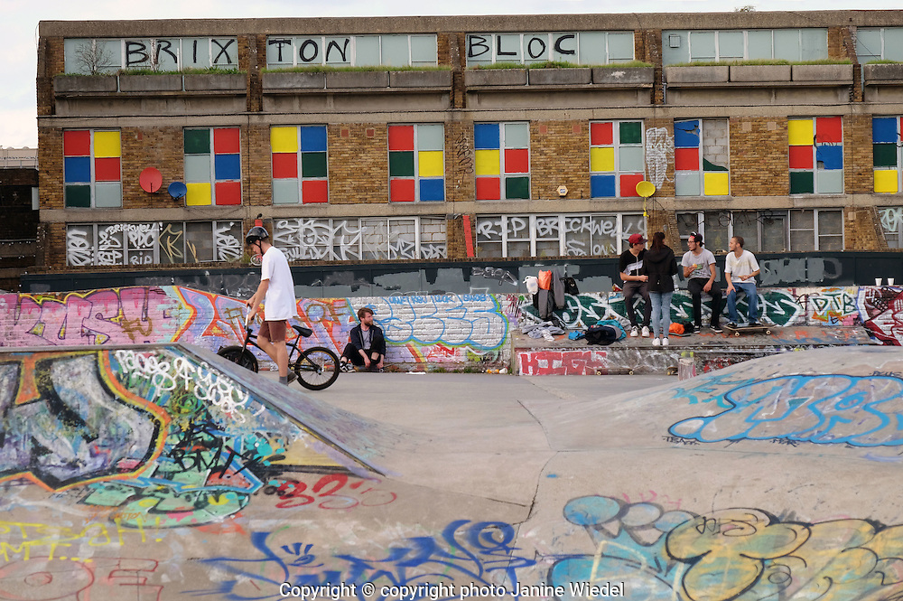Young People using the Stockwell Skate Park in Brixton Lambeth South London
