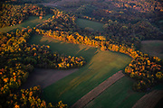 Sunrise aerial image over Iowa County, Wisconsin on a beautiful morning.