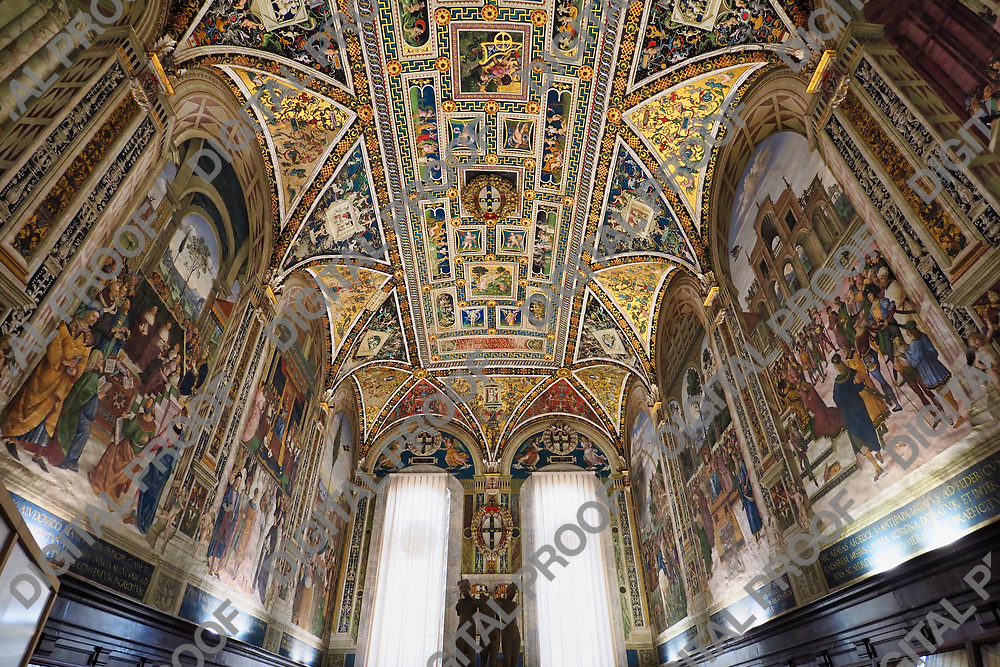 Piccolomini Library room with ceiling frescoes of vibrant colors during the day