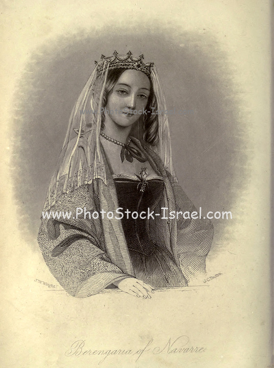 Berengaria of Navarre (c. 1165–1170 – 23 December 1230) was queen of England as the wife of Richard I (Richard Coeur de Lion, Lionheart) of England. She was the eldest daughter of Sancho VI of Navarre and Sancha of Castile. She did (unusually for the wife of a crusader) accompany her husband on the start of the Third Crusade, but mostly lived in his French possessions, where she gave generously to the church, despite difficulties in collecting the pension she was due from Richard's brother and successor John after she became a widow. From the book Heroines of the crusades by Bloss, Celestia Angenette, 1812-1855 Published by Auburn Alden, Beardsley, New York, 1853 Engraved by J.C. Buttre