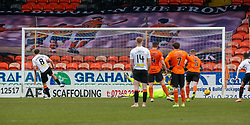 Partick Thistle's Stuart Bannigan scores their penalty. Dundee United 1 v 1 Partick Thistle, Scottish Championship game played 7/3/2020 at Dundee United's stadium Tannadice Park.