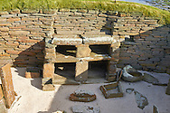 The neolithic  ( circa 2,500 to circa 2,000 BC)  settlement of Skara Brae the best preserved groups of prehistoric houses in Western Europe. Built before the Pyramids Skara Brae gives an insight into the levels of sophistication Neolithic people reached well before the Pyramids were built. Skara Brae, Orkney Scotland.