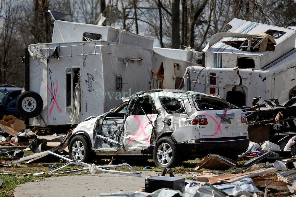 24 February 2016. Sugar Hill RV Park, Convent, Louisiana.<br /> Scenes of devastation following a deadly EF3 tornado touchdown. 2 confirmed dead. <br /> Trailers and cars lie smashed in the debris field left in the path of the tornado. <br /> Photo©; Charlie Varley/varleypix.com