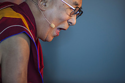 June 16, 2017 - La Jolla, US - His Holiness the 14th Dalai Lama speaks at.UC San Diego UCSD..He describes himself as a simple Buddhist monk. But to the world he is a renowned peace advocate, a beacon of hope for humanity, sharing inspirational messages with international audiences that range from young students to world leaders..His Holiness has received 72 honorary doctorate degrees for his contributions to the fields of Neuroscience, Humanities, Buddhist Science, Humane Arts & Letters, Oriental Studies, Theology, Divinity, Diplomatic Science, Chemistry, Pharmacy, Law and Philosophy. He is also a prolific writer, having authored 80 books, with over 200 publications, translated into 63 languages. To date, His Holiness has spoken at 146 Universities worldwide..This was his first visit in ten years. (Credit Image: © Daren Fentiman via ZUMA Wire)