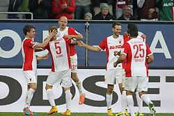 08.11.2014, SGL Arena, Augsburg, GER, 1. FBL, FC Augsburg vs SC Paderborn 07, 11. Runde, im Bild l-r: Torjubel von Paul Verhaegh #2 (FC Augsburg), Tobias Werner #13 (FC Augsburg), Ragnar Klavan #5 (FC Augsburg), Tim Matavz #23 (FC Augsburg) und Halil Altintop #7 (FC Augsburg), Raul Bobadilla #25 (FC Augsburg) // during the German Bundesliga 11th round match between FC Augsburg and SC Paderborn 07 at the SGL Arena in Augsburg, Germany on 2014/11/08. EXPA Pictures © 2014, PhotoCredit: EXPA/ Eibner-Pressefoto/ Kolbert<br /> <br /> *****ATTENTION - OUT of GER*****