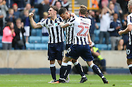Joe Martin of Millwall (c)celebrates with Ben Thompson of Millwall and Aiden O'Brien of Millwall after scoring his sides 1st goal to make it 1-1. EFL Skybet football league one match, Millwall v Bradford city at The Den in London on Saturday 3rd September 2016.<br /> pic by John Patrick Fletcher, Andrew Orchard sports photography.